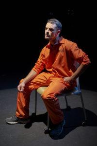 "JU student Joseph Aloi as Aaron McKinney in ""The Laramie Project."""