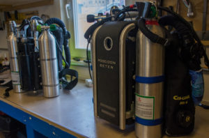 Rebreather systems inside McMurdo Station. Photo Credit: Jeffrey Bozanic