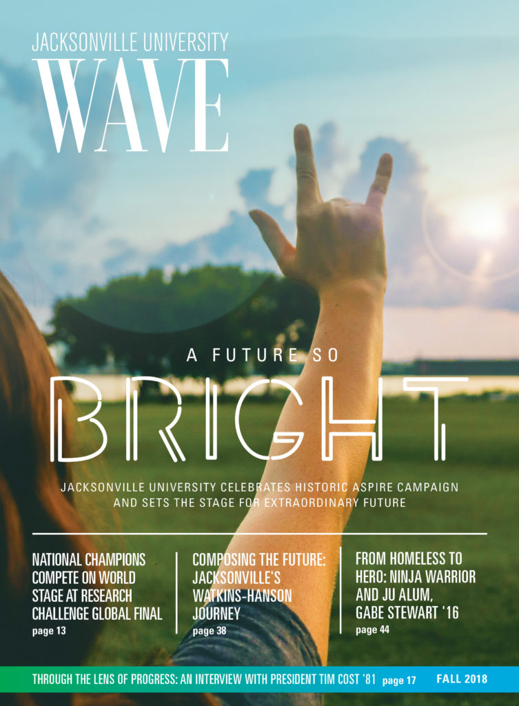 The cover of the Fall 2018 issue of the Jacksonville University Wave.