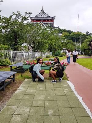 Natasha and friend at Atami Castle