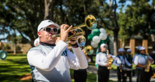 The JU Marching Band performs at Homecoming in 2018.
