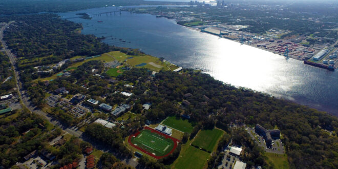 an aerial view of Jacksonville University