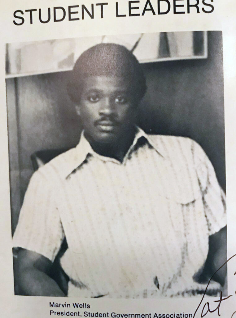 """""""Student Leaders"""" Yearbook photo of Marvin Wells"""