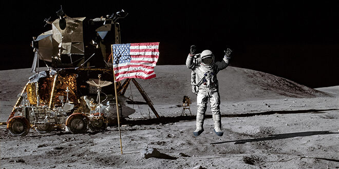 Apollo 11 on the moon with astronaut jumping