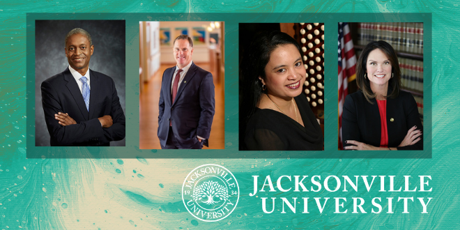 Image featuring headshots of all four 2021 Commencement Speakers