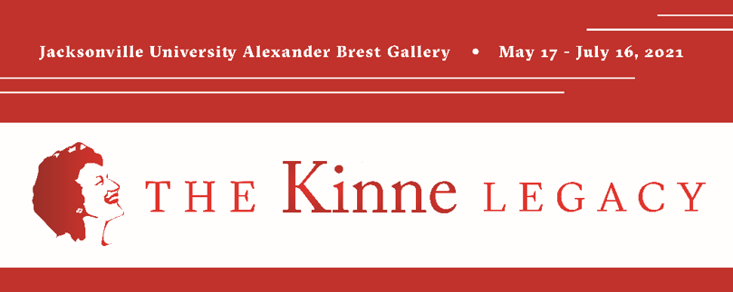 Graphic banner with Kinne Legacy logo and dates of the exhibition