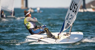Charlotte Rose sailing her Laser Radial sailboat at the 2021 Women's Open Singlehanded National Sailing Championship