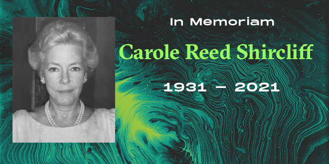 "Headshot of Carol Shircliff in ""In Memoriam"" background"